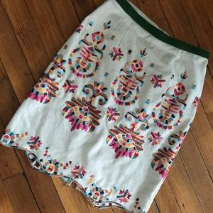 Anthropologie embroidered scalloped skirt